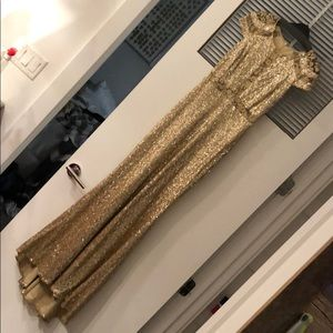 Badgley Mischka Gold Sequin embroidered mesh gown